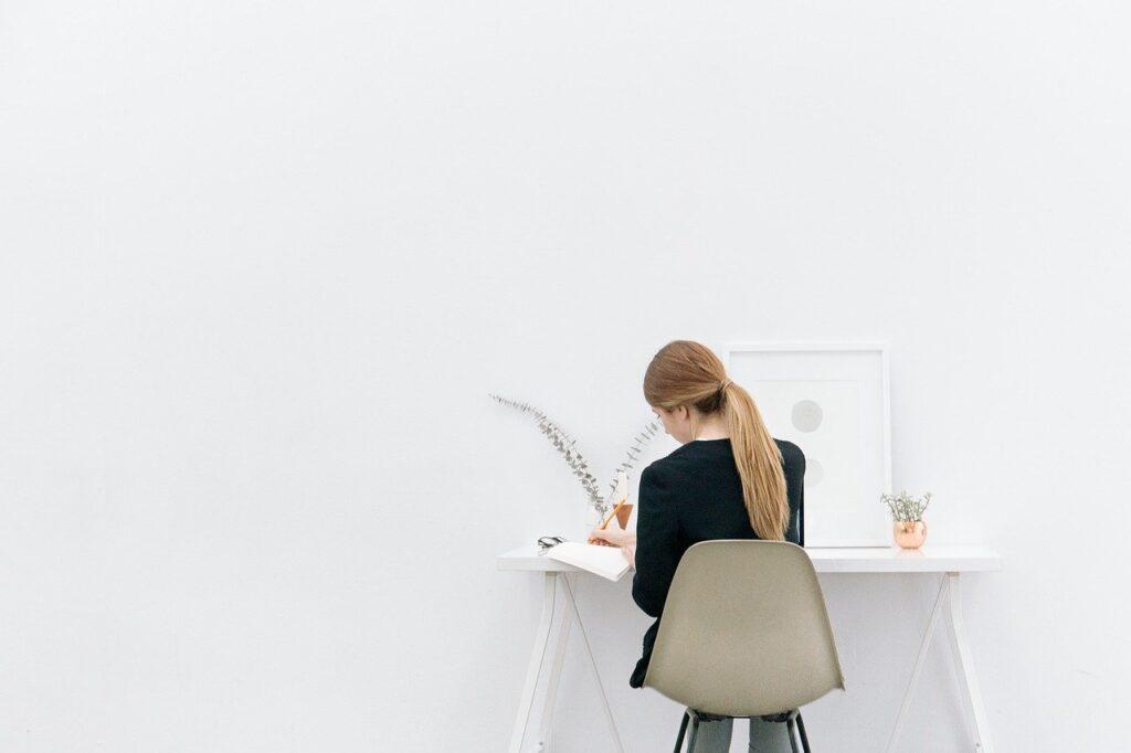 girl, woman, working